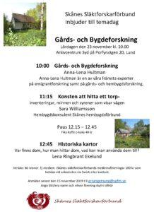 Skånes Släktforskarförbund inbjuder till temadag